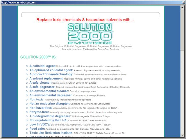 Envirosan Products - Solution 2000