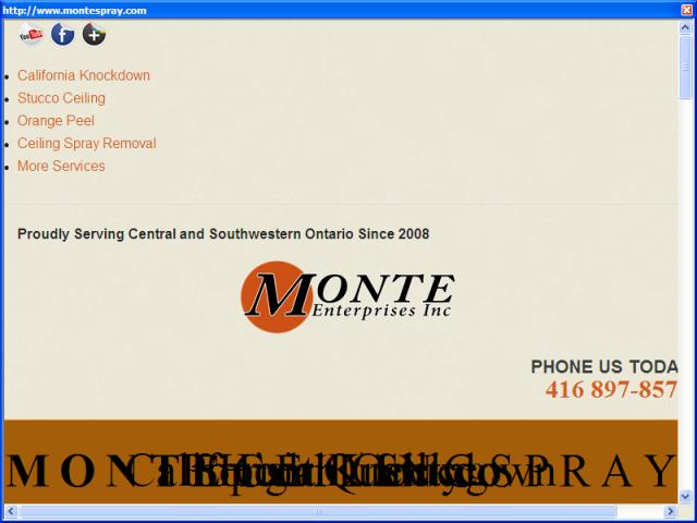 Monte Enterprises Ceiling Stucco Services - Popcorn, California Knockdown, Level 5.  Drywall and ceiling repair, popcorn spray removal, smooth ceiling and painting are also services we offer.  We service the greater toronto area